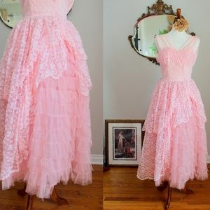 1940's Pink Tulle & Lace Belle Ball Gown